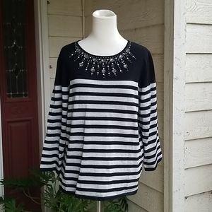 Alfred Dunner Petite Glittering Striped Sweater
